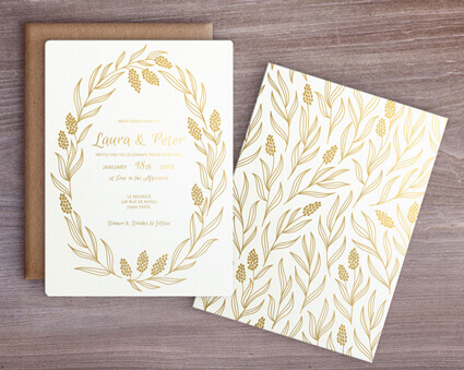 Gold foil invitation by Natalia Kodi
